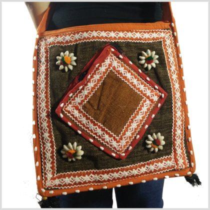 Patchwork Tasche mit Muscheln orange Seitenansicht