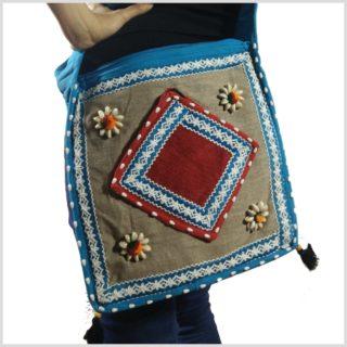 Patchwork Tasche mit Muscheln hellblau Seitenansicht