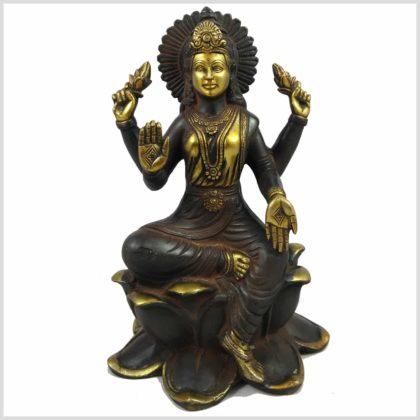 Lakshmi sitzend auf Lotus braungold Vorderansicht
