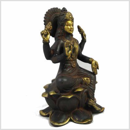 Lakshmi sitzend auf Lotus braungold Seitenansicht rechts