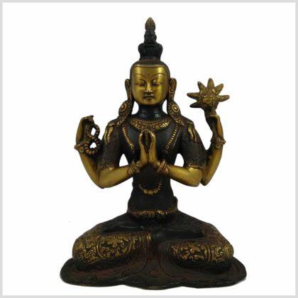 Avalokiteshvara Nepal Antik 26cm 3kg braungold Vorderansicht