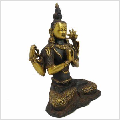 Avalokiteshvara Nepal Antik 26cm 3kg braungold Seitenansicht
