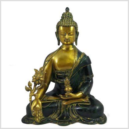 Medizinbuddha 8kg Messing gelbantik Vorderansicht