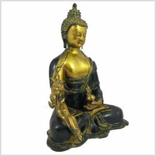 Medizinbuddha 8kg Messing gelbantik Seitenansicht rechts