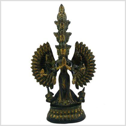 Chenrezig Avalokiteshvara 24,5cm 1,2kg Messing gelbantik Vorderansicht