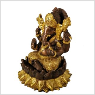 Ganesha Lotus Messing Kupfer Seite Links