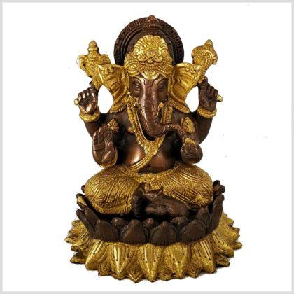 Ganesha Lotus Messing Kupfer Vorderansicht