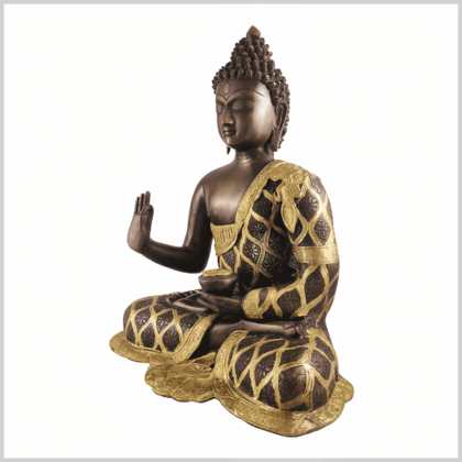 Lehrender Buddha 9,6kg Messing Kupfer Seite links