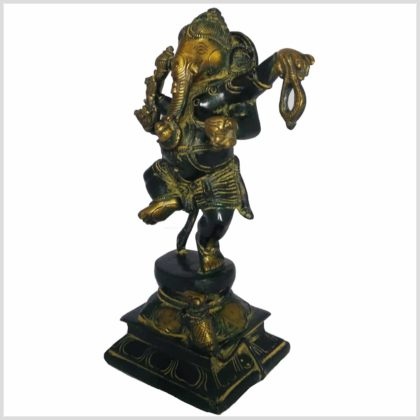 Tanzender Ganesha 24cm Messing gelbantik Seitenansicht links
