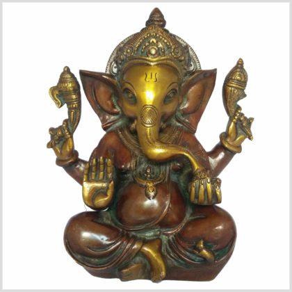 Mukesh Ganesha Ganesh 21cm braungrün Vorne