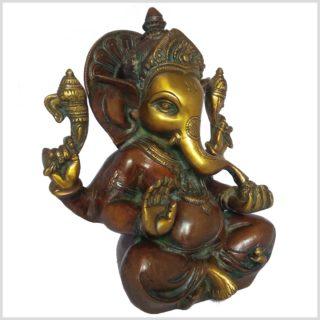 Mukesh Ganesha Ganesh 21cm braungrün Seitenansicht rechts