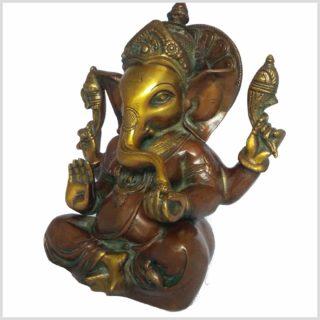 Mukesh Ganesha Ganesh 21cm braungrün Seitenansicht