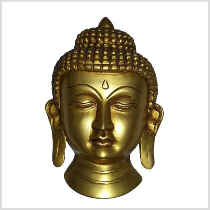 Buddhakopf Wandbehang Messing Vorne