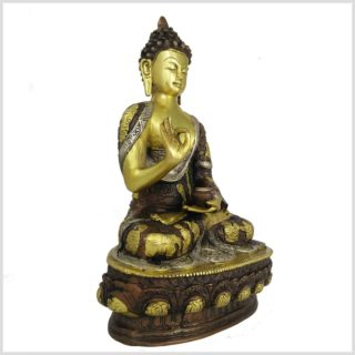 Lehrender Buddha Messing Kupfer Silber Seitenansicht rechts