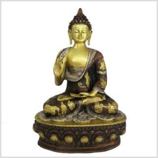 Lehrender Buddha Messing Kupfer Silber Vorderansicht