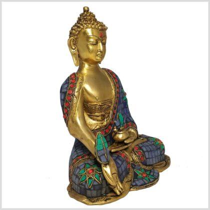 Medizinbuddha 25cm Steinarbeit Tricoloure Seitenansicht rechts
