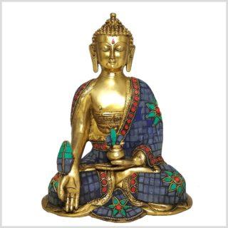 Medizinbuddha 25cm Steinarbeit Tricoloure Vorderansicht