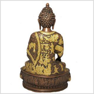 Erdender Buddha Messing verkupfert 33cm Rücken
