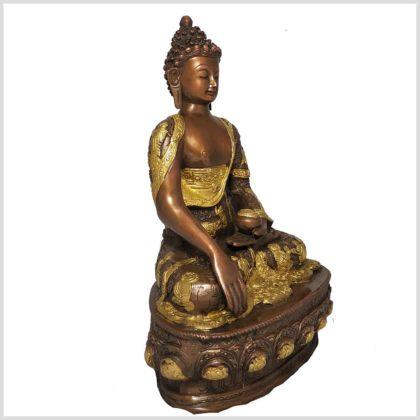 Erdender Buddha Messing verkupfert 33cm Seitenansicht