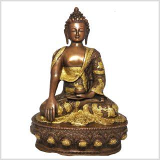 Erdender Buddha Messing verkupfert 33cm Vorderansicht