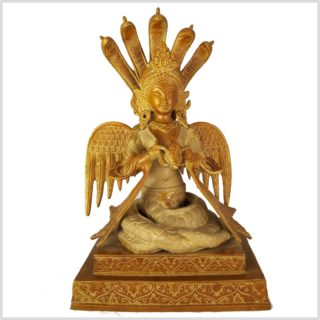 Nag Kanya auf Podest 6kg Messing Sandgold Vorderansicht
