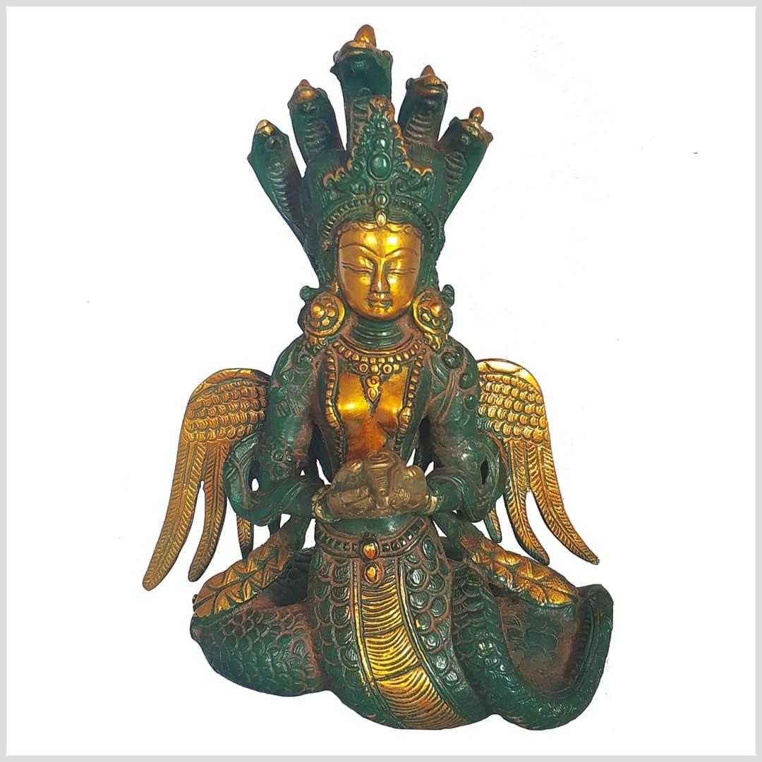 Nag Kanya 32cm 6 KG Messing Buddha Nepal Indien Buddha Naga Kanya Nagini