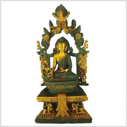 Medizinbuddha mit Tempel Nepalgrün 38cm 6kg Vorderansicht