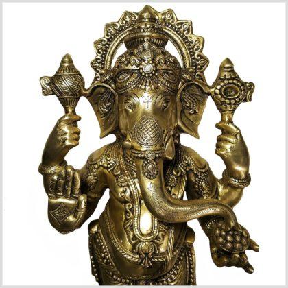 Stehender Ganesha aus Messing von vorne Nahansicht