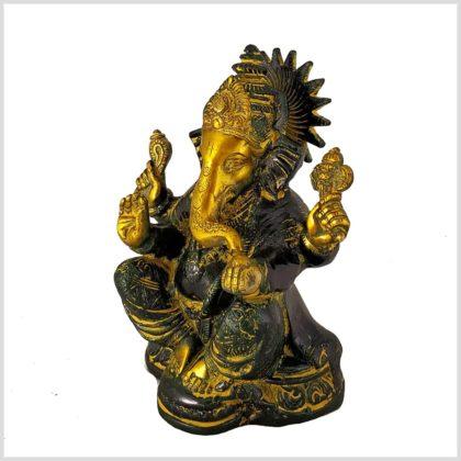 Ganesha mit Chakra Messing gelbgrün Seitenansicht links