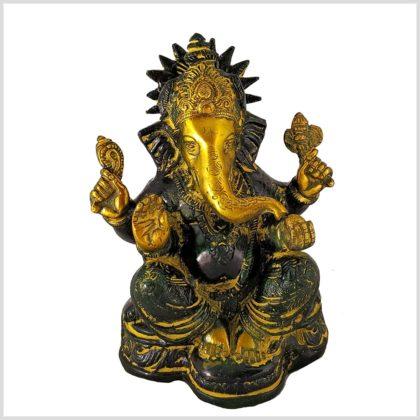 Ganesha mit Chakra Messing gelbgrün Vorderansicht