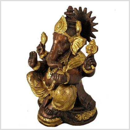 Sitzender Ganesha aus Messing und Kupfer Seite Rechts