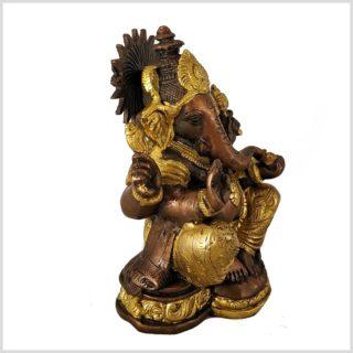 Sitzender Ganesha aus Messing und Kupfer Seite Links