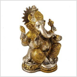 Ganesha mit Chakra Messing Silber Seitenansicht