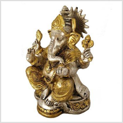 Ganesha mit Chakra Messing Silber Seitenansicht links