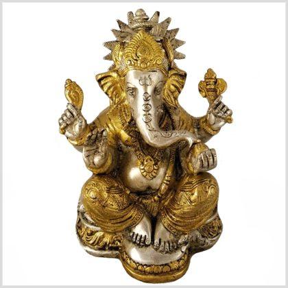 Ganesha mit Chakra Messing Silber Vorne