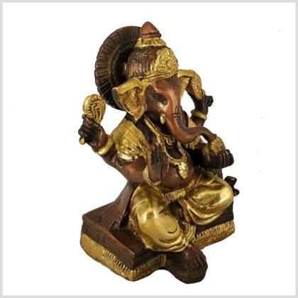 Sitzender Ganesha mit ausgestreckten Bein Messing Kupfer 18,5 cm Seite Links
