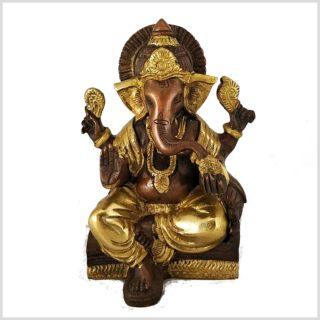 Sitzender Ganesha mit ausgestreckten Bein Messing Kupfer 18,5 cm vorne