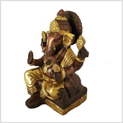 Sitzender Ganesha mit ausgestreckten Bein Messing Kupfer 18,5 cm Seite rechts