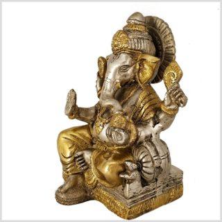 Sitzender Ganesha mit ausgestreckten Bein Messing Silber 18,5 cm Seite Rechts