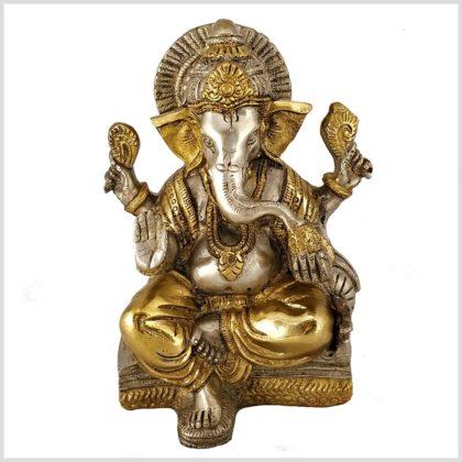 Sitzender Ganesha mit ausgestreckten Bein Messing Silber 18,5 cm