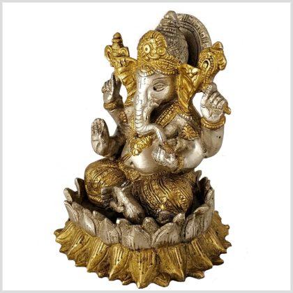Ganesha auf Lotus 18,5cm Messing Silber Seitenansicht links