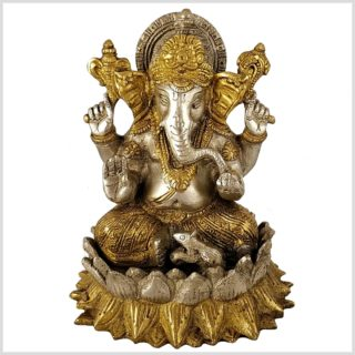 Ganesha auf Lotus 18,5cm Messing Silber Vorderansicht