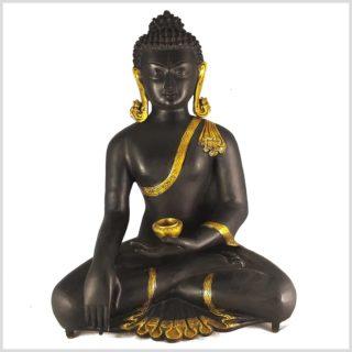 Erdender Buddha Kundal Messing schwarzgold Vorderansicht