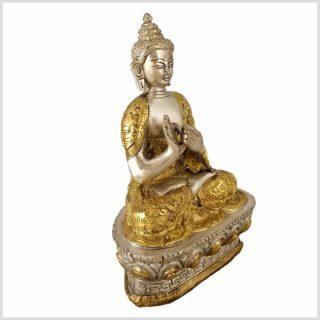 Dharmachakra Buddha versilbert seitlich