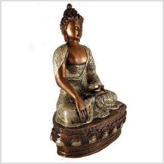 Erdender Buddha 33cm Kupfer Silber Seitenansicht rechts