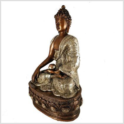 Erdender Buddha 33cm Kupfer Silber Seitenansicht links