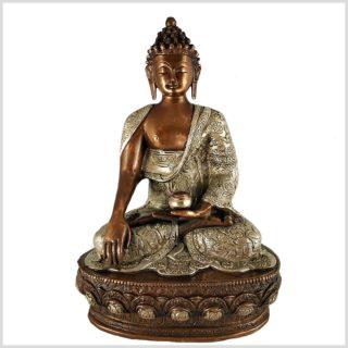 Erdender Buddha 33cm Kupfer Silber Vorderansicht