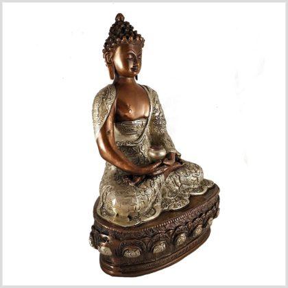 Erleuchteter Buddha 33cm Kupfer Silber Seitenansicht rechts