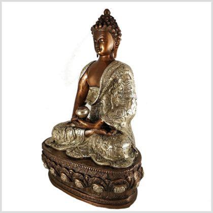 Erleuchteter Buddha 33cm Kupfer Silber Seitenansicht links