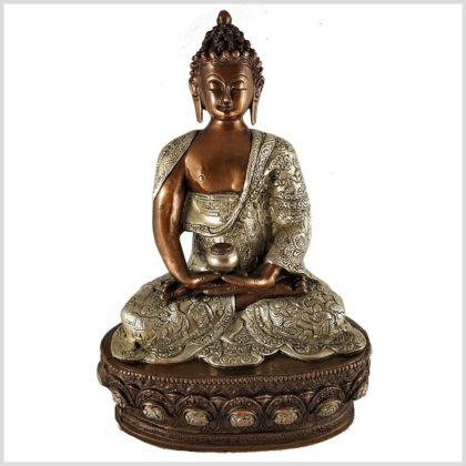 Erleuchteter Buddha 33cm Kupfer Silber Vorne